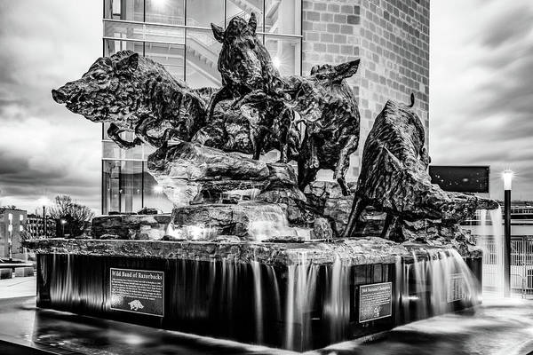 Photograph - Wild Band Of Razorbacks Monument Fountain - University Of Arkansas Monochrome by Gregory Ballos
