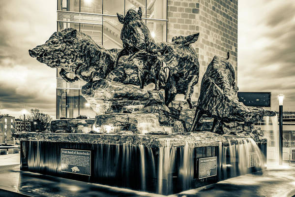 Photograph - Wild Band Of Razorbacks Monument Fountain - University Of Arkansas Sepia by Gregory Ballos