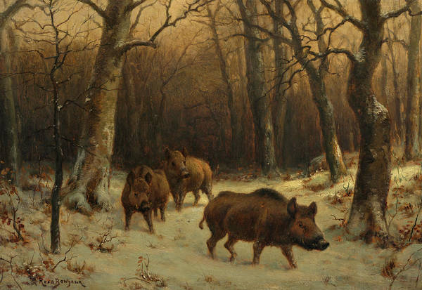 Wall Art - Painting - Wild Boars In The Snow, 1877 by Rosa Bonheur
