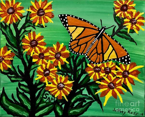 Wall Art - Painting -  Wild Flowers And The  Butterfly by Jeffrey Koss