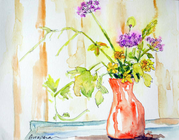 Painting - Wild Flowers In An Orange Vase by Patricia Awapara