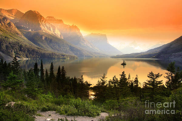Wild Goose Island In Glacier National Art Print