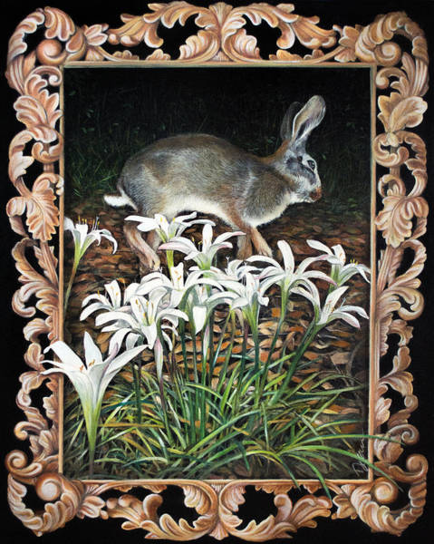 Clovis Painting - Wild Hare And Lilies by Clovis Rusk
