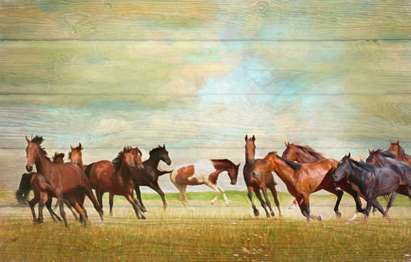 Digital Art - Wild Horses Painting In Wood Textures  by Debra and Dave Vanderlaan