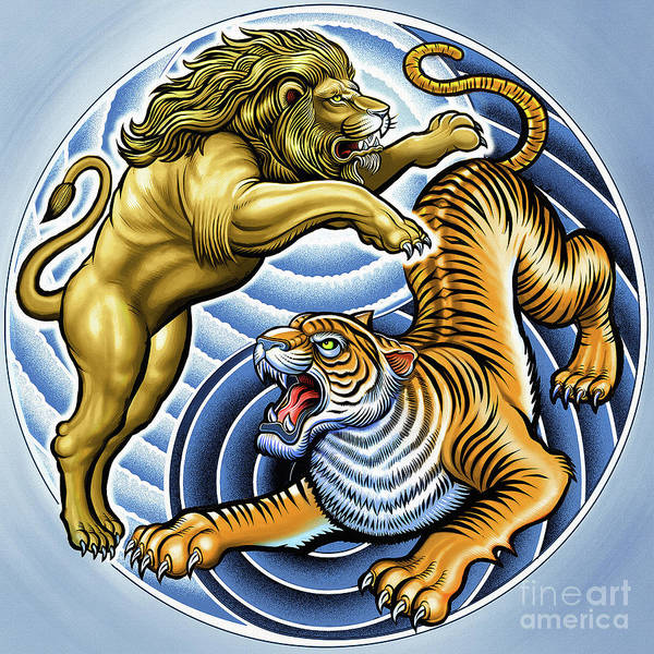 Big Five Painting - Wild Lion And Tiger  by Gull G