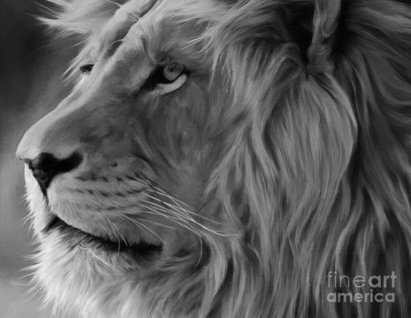 Big Five Painting - Wild Lion Face by Gull G