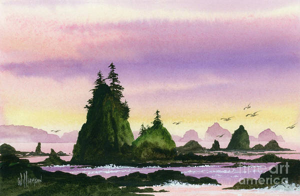 Wall Art - Painting - Wild Ocean Shore Sunset by James Williamson