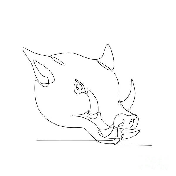 Wall Art - Digital Art - Wild Pig Head Continuous Line by Aloysius Patrimonio