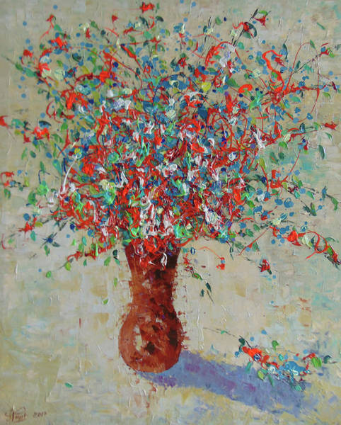Painting - Wild Red Flowers by Frederic Payet