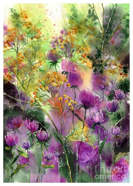 August Wall Art - Painting - Wild Tansy by Suzann Sines
