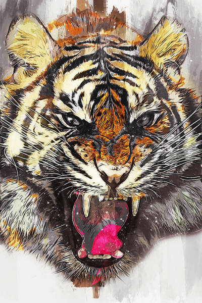 Painting - Wild Tiger - 21 by Andrea Mazzocchetti