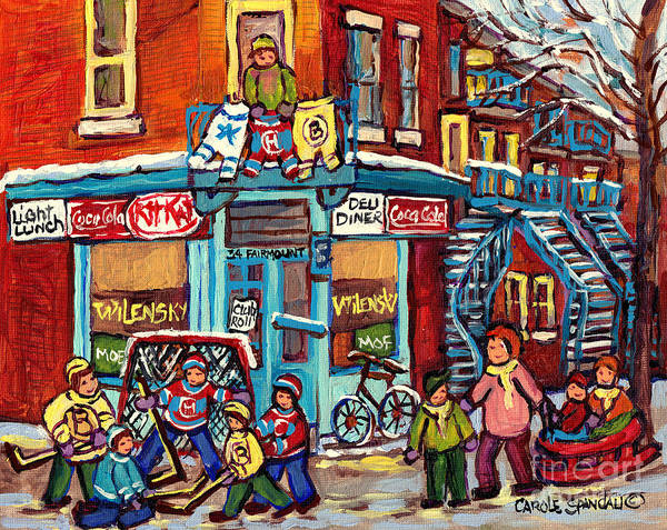 Painting - Wilensky's Winter Scenes Montreal Street Hockey Art C Spandau Quebec Snowscene Painting Canadian Art  by Carole Spandau