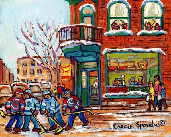 Painting - Wilensky Winter Scene Street Hockey Painting Montreal Deli Sandwich Shop C Spandau Plateau Artist    by Carole Spandau