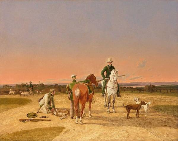 Wall Art - Painting - Wilhelm Von Kobell  Mannheim 1766  1853 Munich An Encounter Between Huntsmen With A Distant V Iew O  by Celestial Images