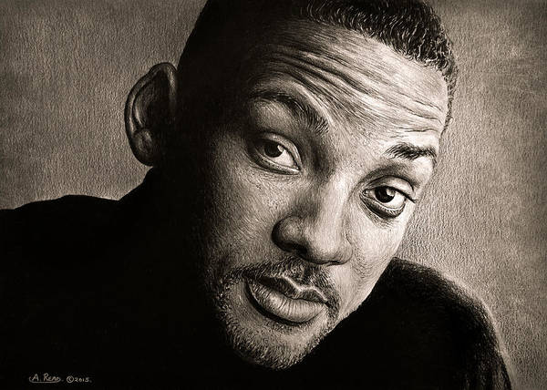Wall Art - Drawing - Will Smith Sepia by Andrew Read