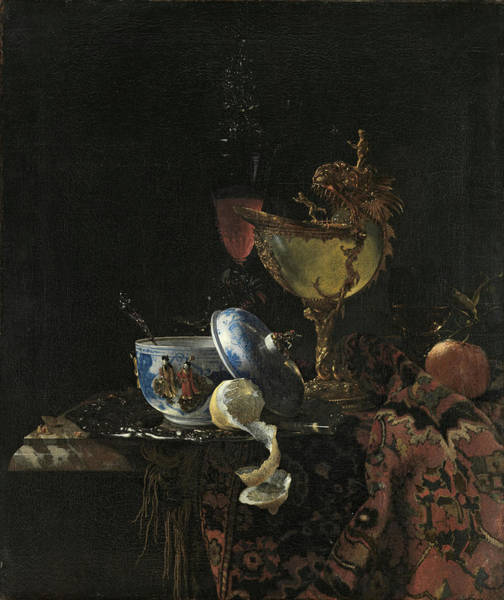 Apple Peel Painting - Willem Kalf -rotterdam, 1619-amsterdam, 1693-. Still Life With A Chinese Bowl, Nautilus Cup And O... by Willem Kalf -1619-1693-