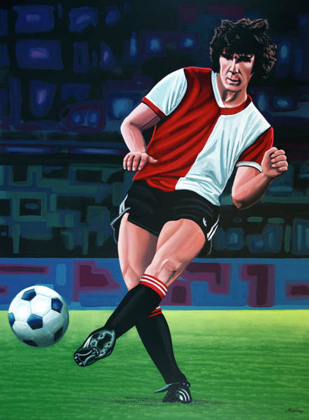 Football Players Wall Art - Painting - Willem Van Hanegem Painting by Paul Meijering