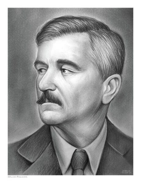 Novel Wall Art - Drawing - William Faulkner by Greg Joens