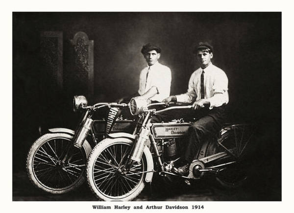 Wall Art - Photograph - William Harley And Arthur Davidson 1914 by Bill Cannon