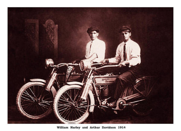 Photograph - William Harley And Arthur Davidson 1914 In Sepia by Digital Reproductions