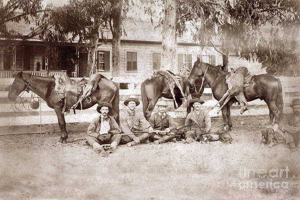 Photograph - William Hatton   Hunting Party  Carmel Valley August 22, 1886 by California Views Archives Mr Pat Hathaway Archives