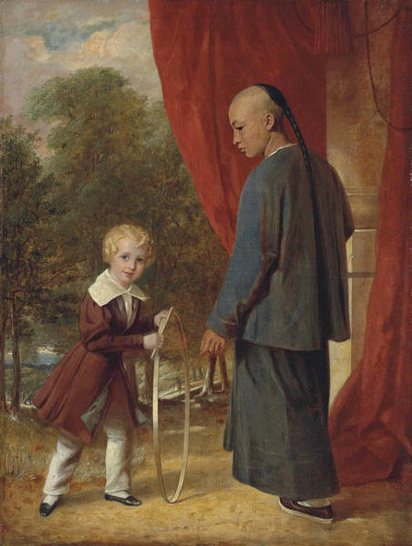 Painting - William Henry Ker Playing With A Hoop, With A Chinese Attendant by Aaron Edwin Penley