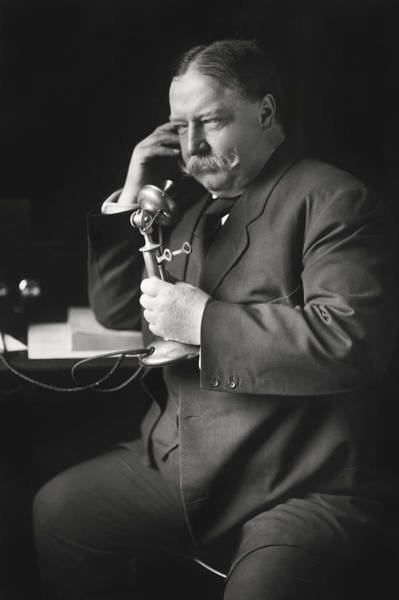 Wall Art - Photograph - William Howard Taft On Telephone - 1908 by War Is Hell Store