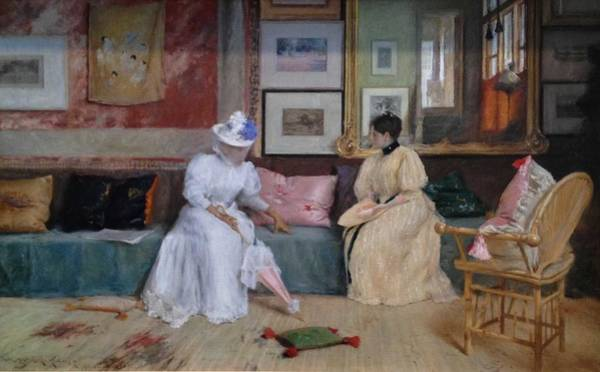 Wall Art - Painting -  William Merritt Chase A Friendly Call 1895  by Celestial Images