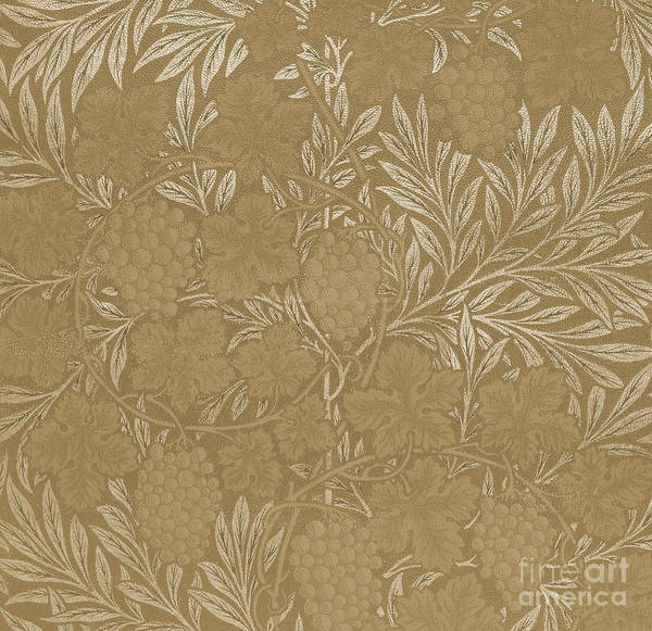 Wall Art - Drawing - William Morris, Vintage Textile Design Brown by William Morris