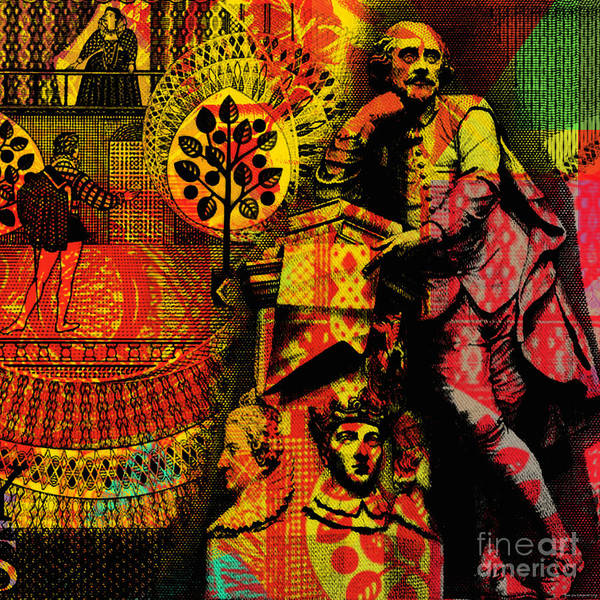 Digital Art - William Shakespeare Pop Art Collage by Jean luc Comperat