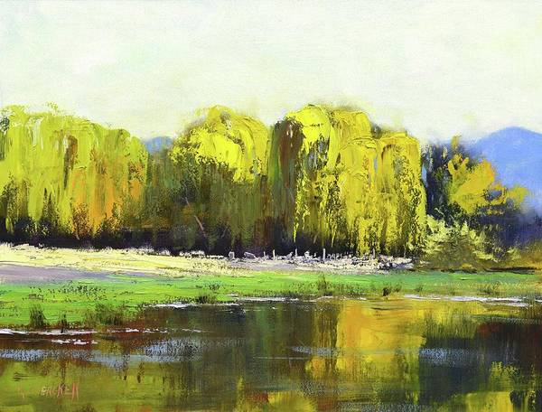 Wall Art - Painting - Willow Tree Reflections by Graham Gercken