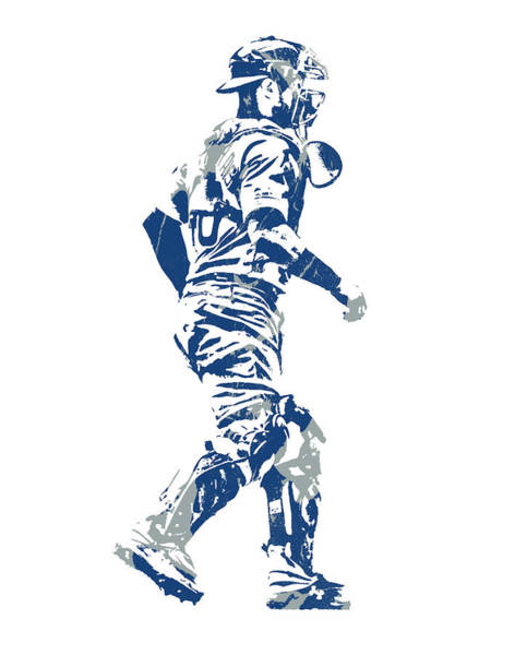 Wall Art - Mixed Media - Wilson Contreras Chicago Cubs Pixel Art 1 by Joe Hamilton