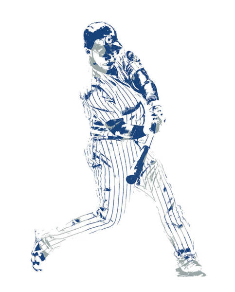 Wall Art - Mixed Media - Wilson Contreras Chicago Cubs Pixel Art 3 by Joe Hamilton
