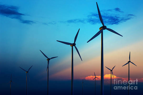 Wall Art - Photograph - Wind Turbine Farm With Rays Of Light At by Johan Swanepoel