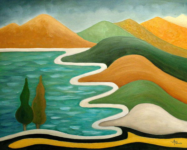 Painting - Winding Coast by Angeles M Pomata