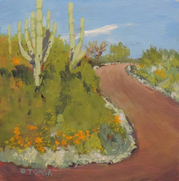 Wall Art - Painting - Winding Desert Road by Bill Tomsa