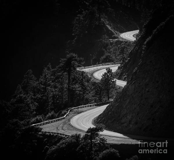 Curving Photograph - Winding Mountain Road In Black And White by Bryce Eilenberg