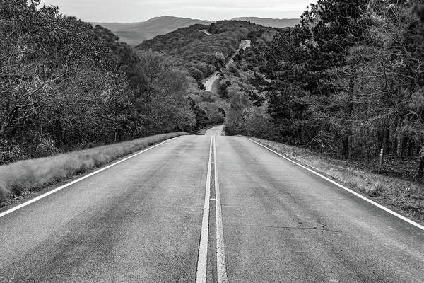 Photograph - Winding Stair Mountain - Talimena Scenic Byway Drive - Black And White by Gregory Ballos