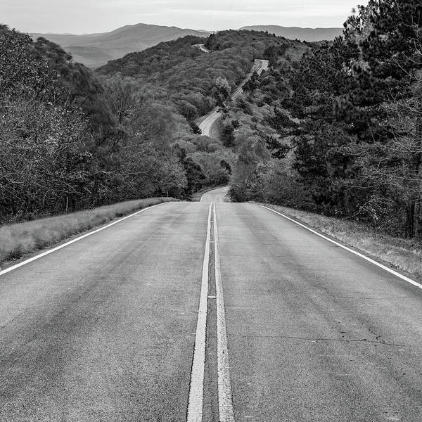 Photograph - Winding Stair Mountain - Talimena Scenic Byway Drive - Black And White Square Format by Gregory Ballos