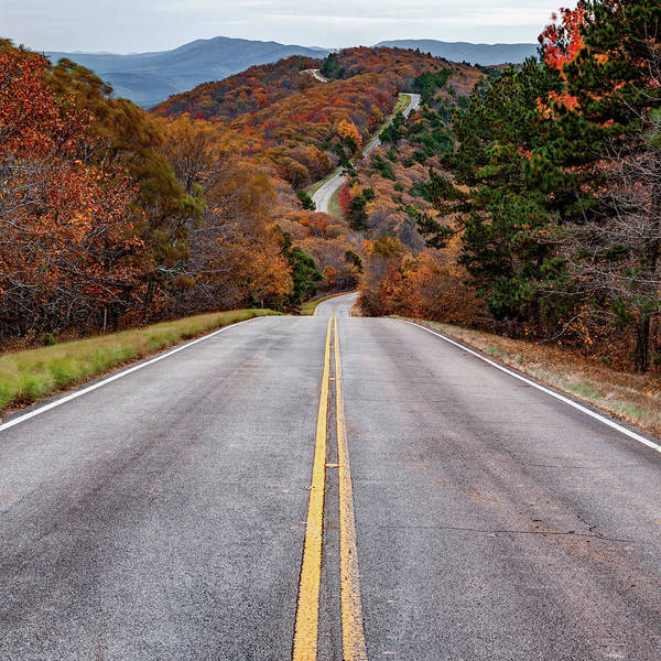 Photograph - Winding Stair Mountain - Talimena Scenic Byway Drive In Autumn - Square Format by Gregory Ballos