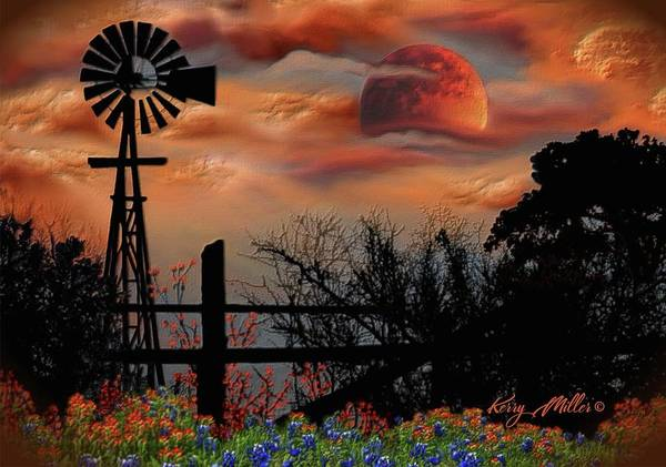 Texas Bluebonnet Digital Art - Windmill And Orange Moon by Kerry Miller