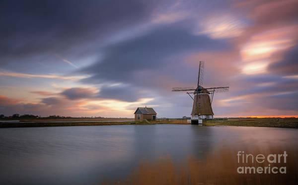 Photograph - Windmill Het Noorden Texel Long Exposure by Michael Barkowski