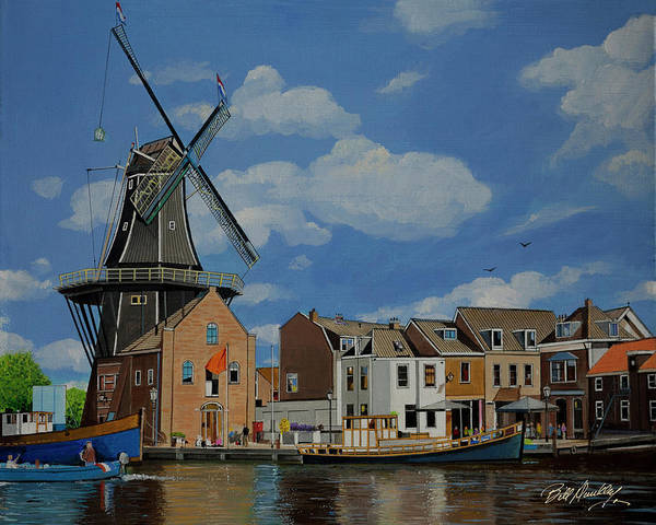 Wall Art - Painting - Windmill In Haarlem by Bill Dunkley