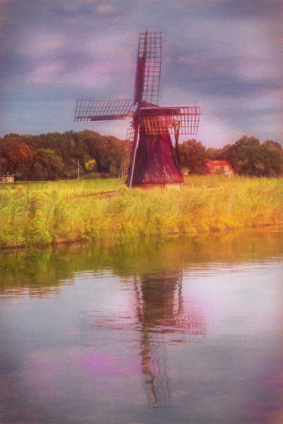Photograph - Windmill In The Morning Painting by Debra and Dave Vanderlaan