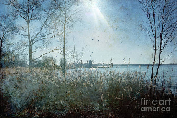 Wall Art - Digital Art - Windmill On The Lake In The Netherlands by Patricia Hofmeester