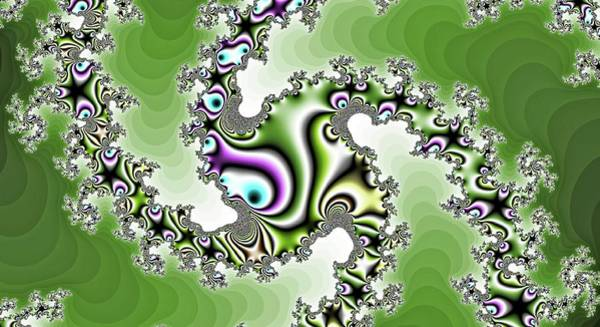 Digital Art - Windmill Spiral Fractal Green by Don Northup