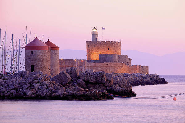 Windmills And St.nikolaos Castle, Rhodes Art Print