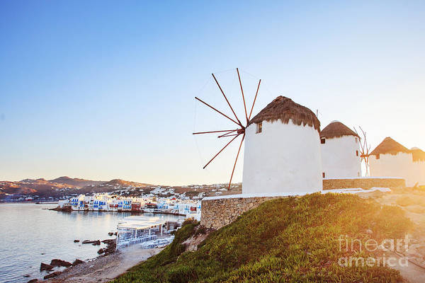 Windmills Of Mykonos, Famous Landmark Art Print