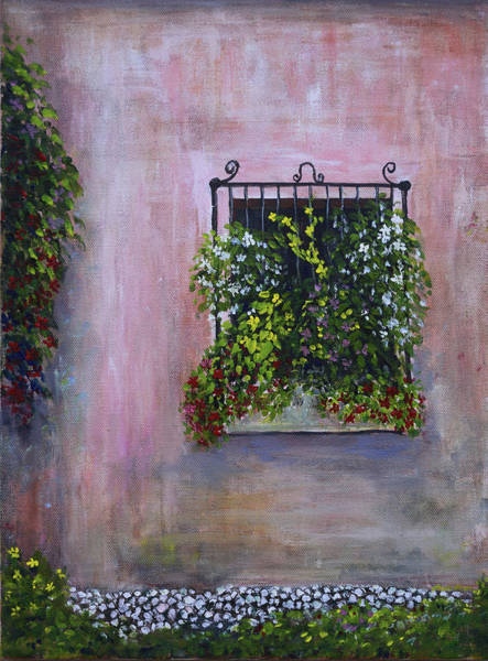 Painting - Window Box And Old Stucco by Alexis Baranek