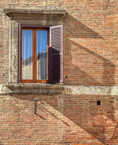 Photograph - Window Shutter Shadow Of Tuscany by David Letts
